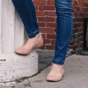 J. Crew Nude Leather Ballet Flats